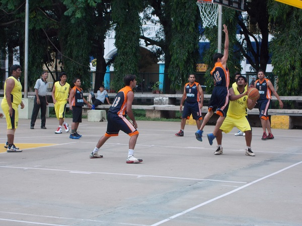 Basketball action at Kanteerava stadium Bengaluru