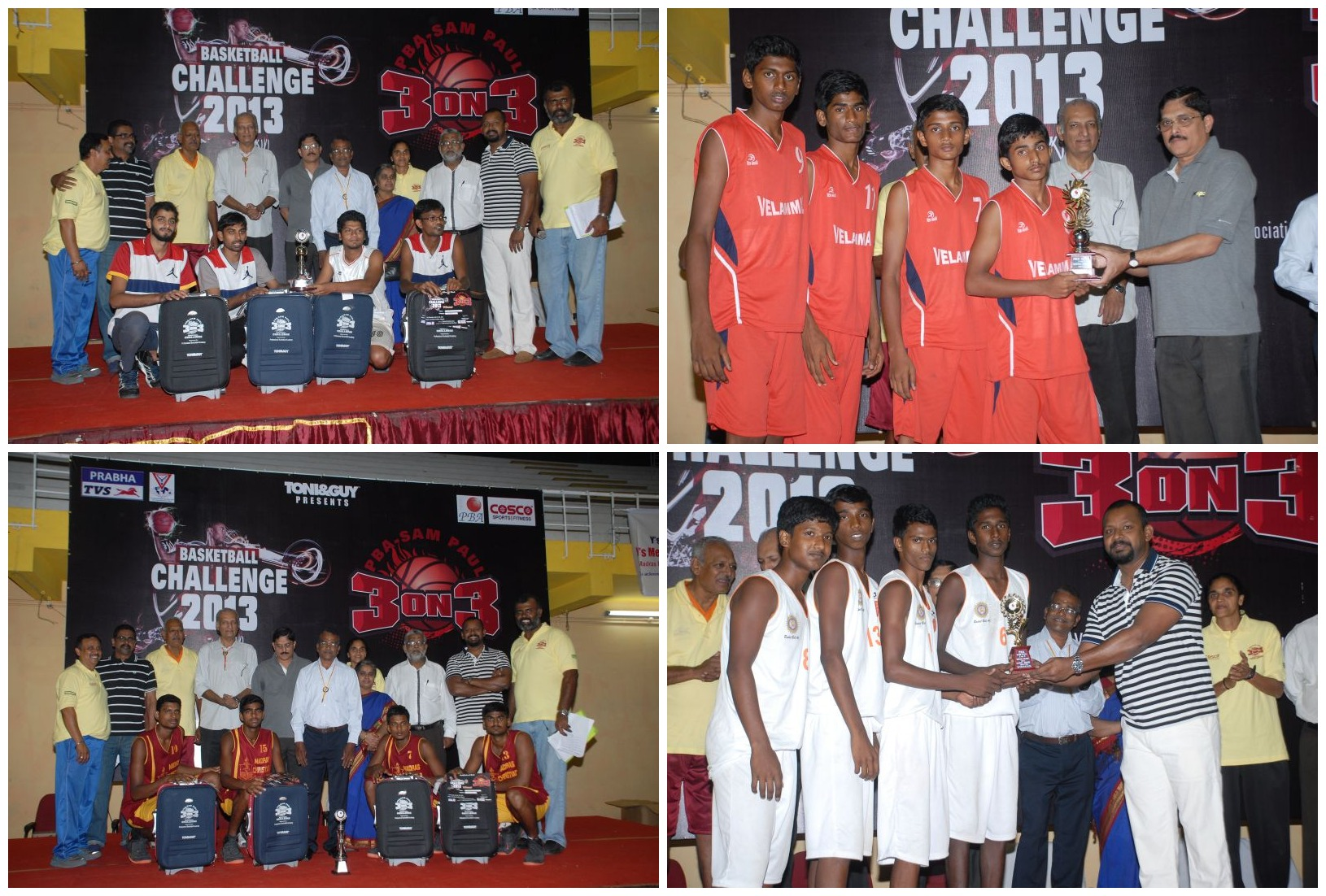 Winning teams (clockwise from top left): The TCS team, winners in the Corporate category; Velammal team, winner in the Junior Boys category receiving trophy from C. Siva Kumar, Managing Partner, Prabha TVS; MCC team, winner of College level; MCTM, Winner of Senior Boys (Schools) receiving trophy from Dr Sam Paul, Managing Trustee, Sam Paul trust.