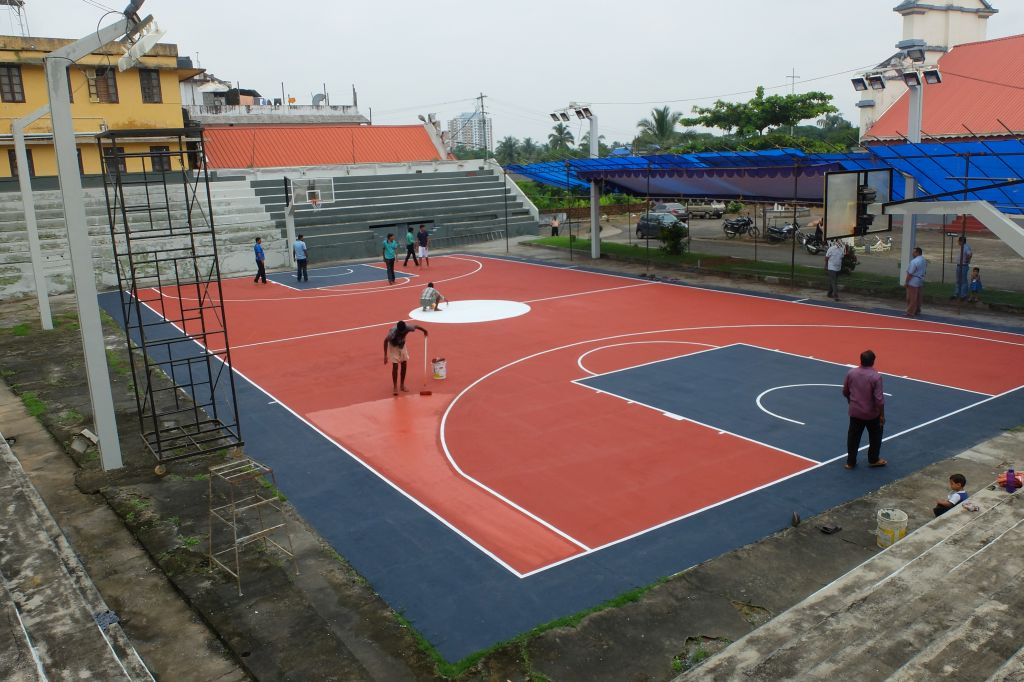 Final touches being done for the Senior State Basketball Championship at Aluva.
