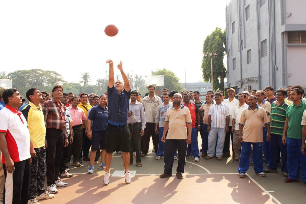 Carlos Barroca, Senior Director, Basketball Operations in India with the coaches from various schools during a session at the basketball courts of Dominic Savio School, Andheri East on November 11, 2014, Tuesday.