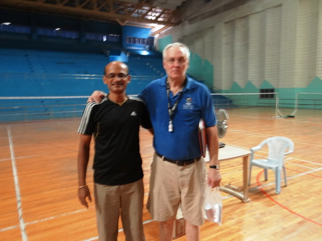 FIBA instructor Nelson Isley (right) with Maharashtra's coach Lalit Nahata.