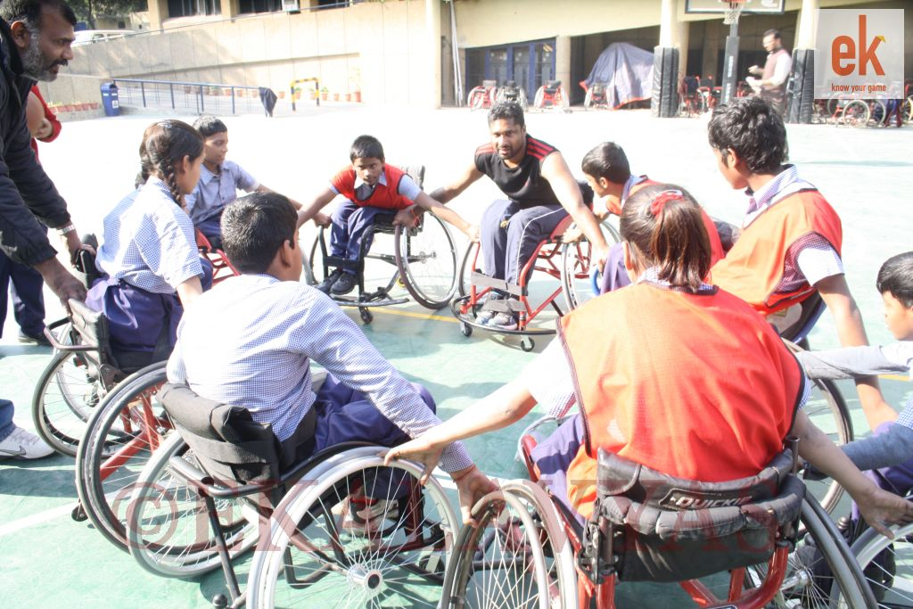 File photo from the inaugural Delhi leg: Coach Manoj Soma training wheelchair basketball to students of Amar Jyothi School, Delhi