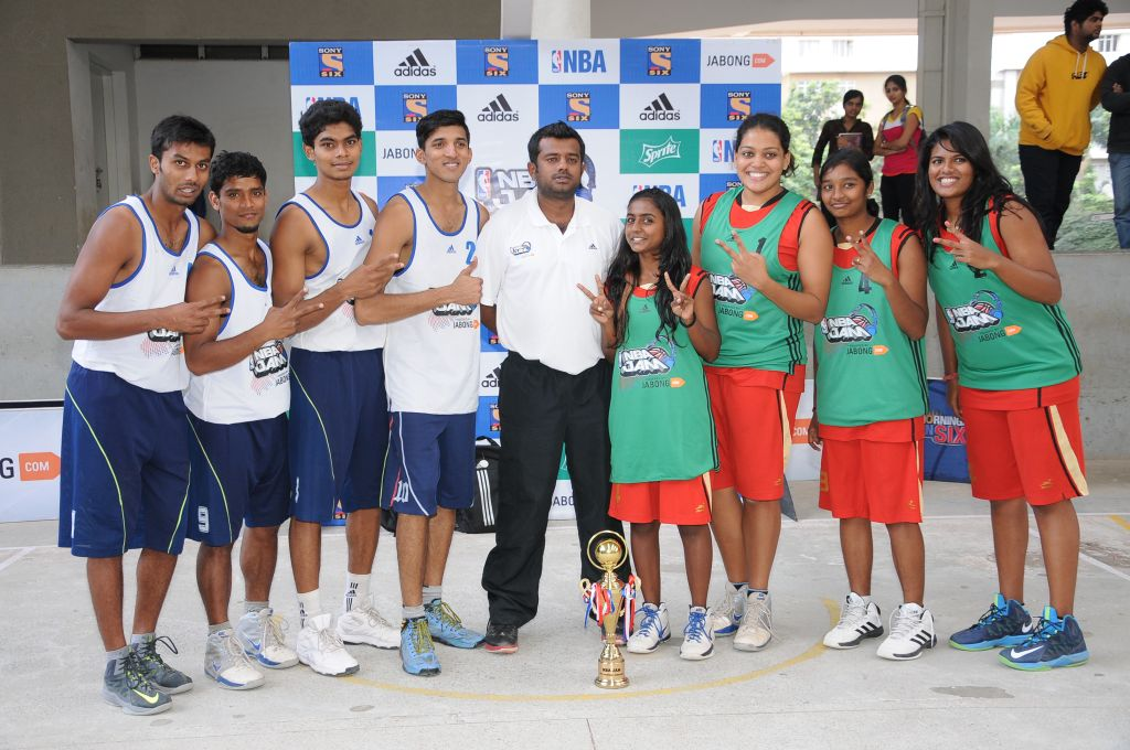 The victorious Jain University teams.
