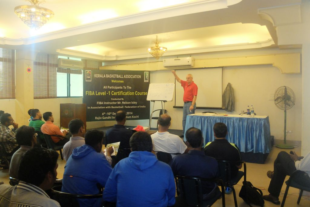Nelson Isley taking classes at the FIBA Level Certification Course in Kochi, Kadavanthara.