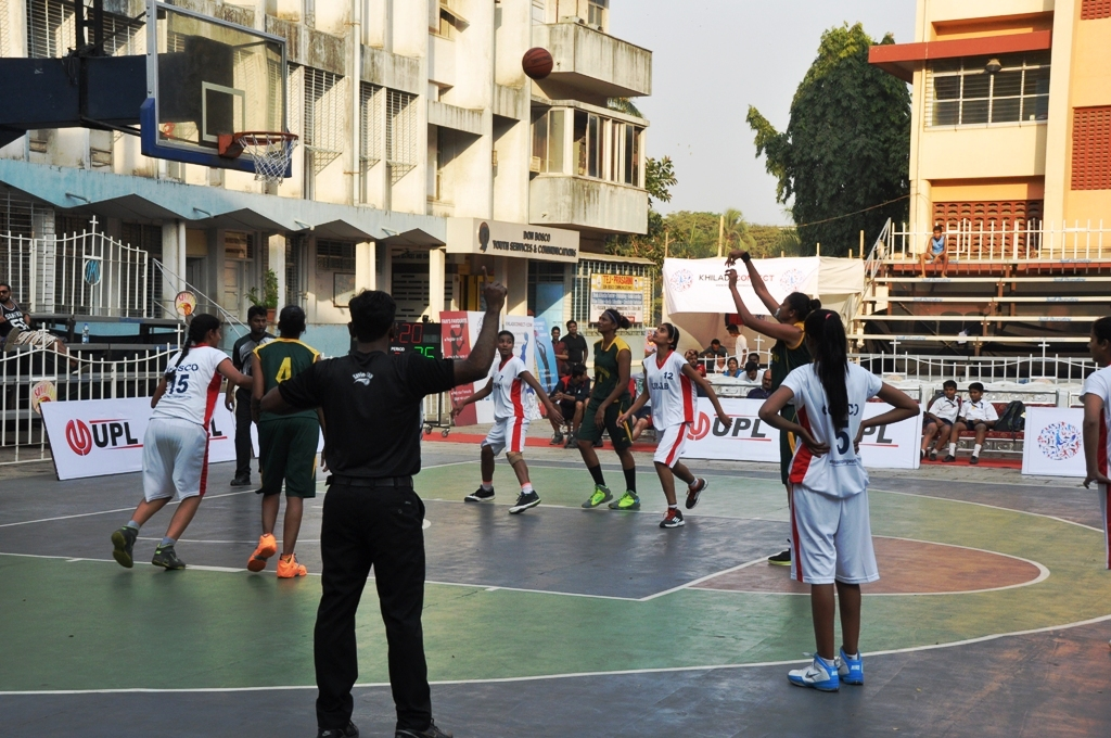 Action during the Southern Railway and Punjab match in the women's league of the 10th Savio Cup All-India Basketball Tournament, at the Don Bosco High School basketball court, Matunga, on Tuesday evening.