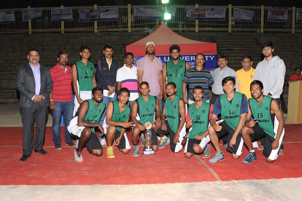 Jain University team which emerged winners in the Men's Basketball division.