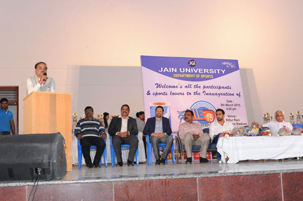(L to R) Mr. Ananth Kumar (MP, Bangalore South), Dr. B T Vekatesh (Controller of Examination, Jain University), Dr. Sankar U V (Director of Sports, Jain University) Dr. Mahadevan (Director of Physical Education, University of Madras), Mr. Sandeep Sejwal (International Swimmer), Mr. B N Vijay Kumar (MLA, Jayanagar)