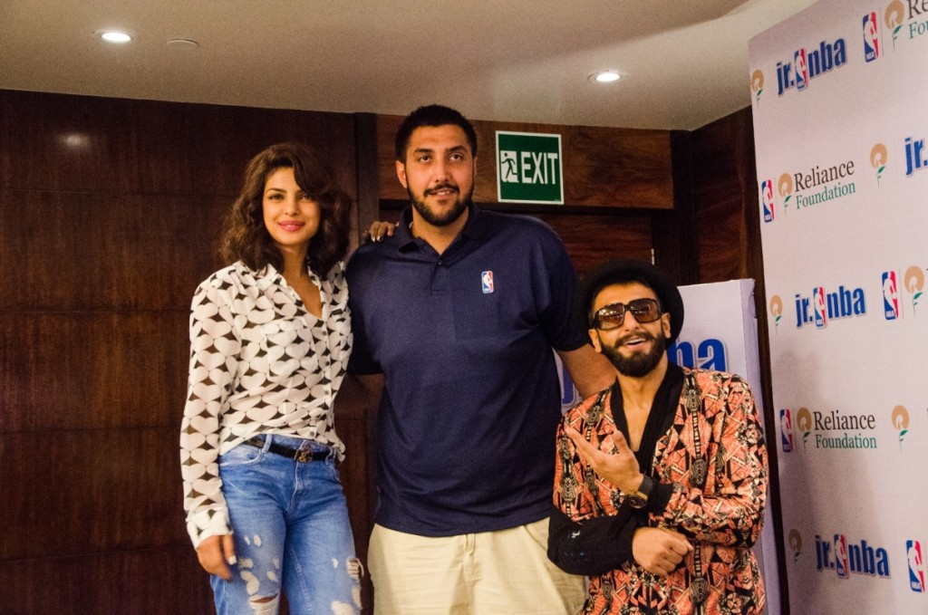 NBA player Sim Bhullar India visit: Meeting with Ranveer Singh and Priyanka Chopra.
