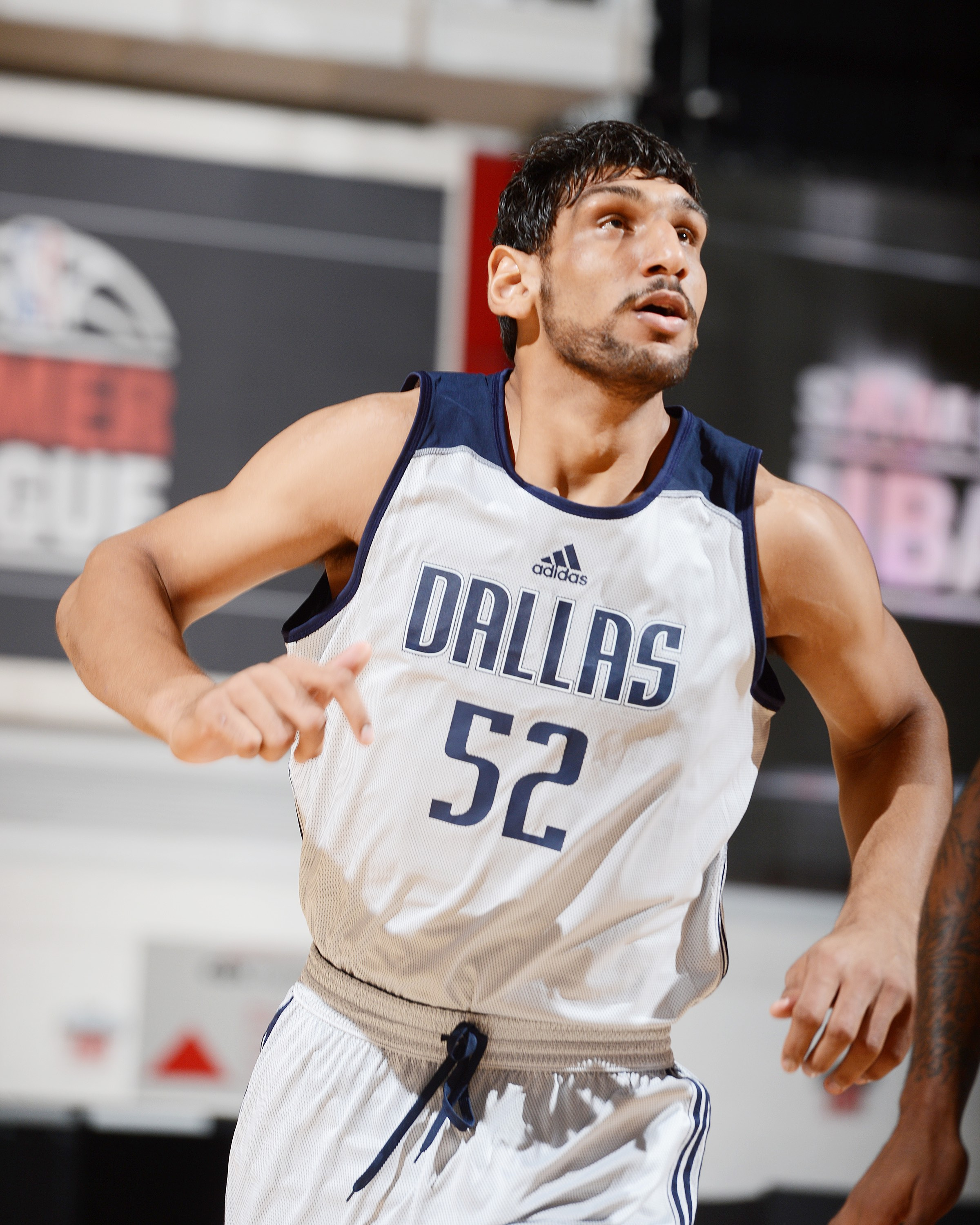 LAS VEGAS, NV - JULY 12: Satnam Singh #52 of the Dallas Mavericks looks on during the game against the Portland Trail Blazers on July 12, 2015 at the Cox Pavilion in Las Vegas, Nevada. NOTE TO USER: User expressly acknowledges and agrees that, by downloading and or using this Photograph, user is consenting to the terms and conditions of the Getty Images License Agreement. Mandatory Copyright Notice: Copyright 2015 NBAE (Photo by Garrett Ellwood/NBAE via Getty Images)