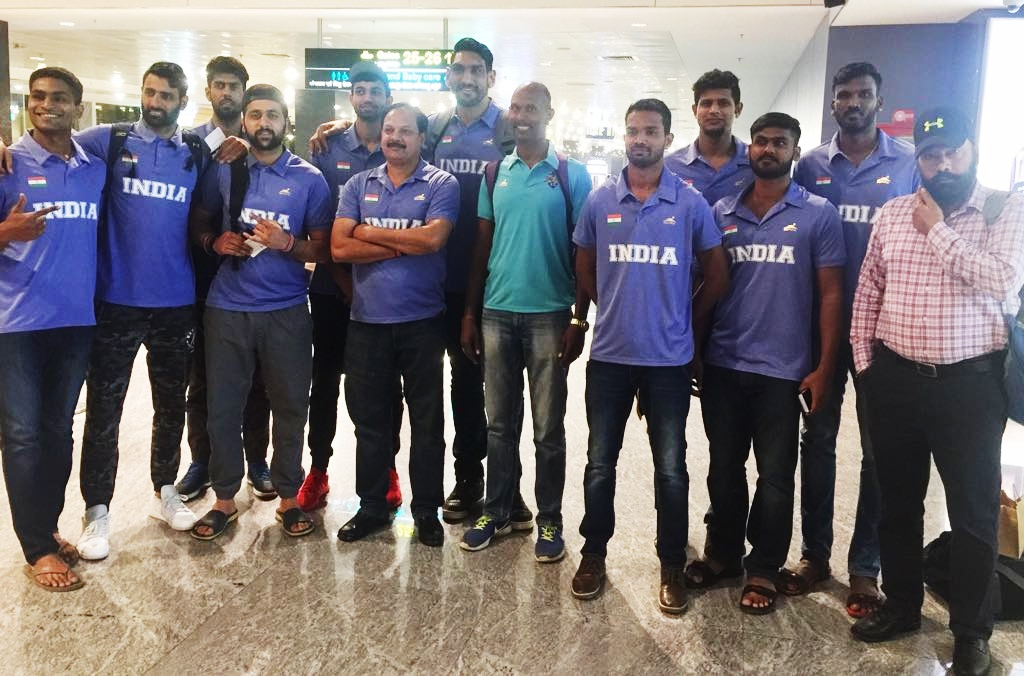 Team india all set to participate in the 18th asian games team india at the jakarta international airport image credits basketball federation of india stopboris Choice Image